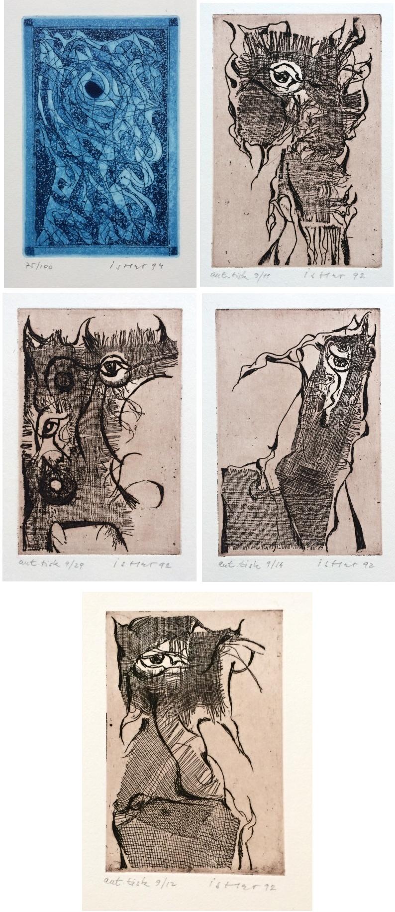 Istler Josef (1919 - 2000) : Konvolut 5 barevných leptů