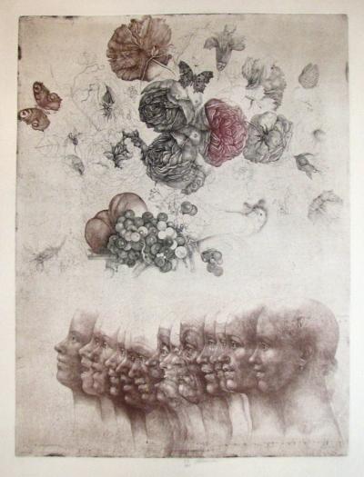 Anderle Jiří (1936) : Dívka, květiny, plody, slavík a motýli