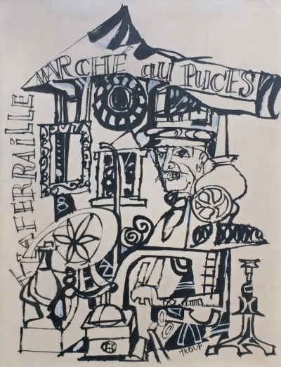 Troup Miloslav (1917 - 1993) : Marché au Puces