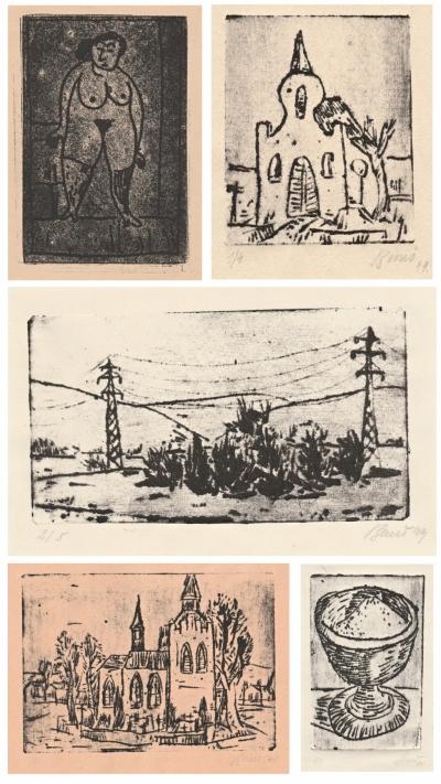 Beneš Vlastimil (1919 - 1981) : Konvolut 5 monotypů