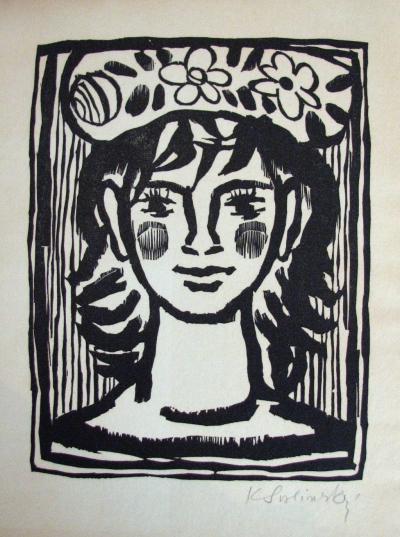 Svolinský Karel (1896 - 1986) : Dívčí hlava s věnečkem