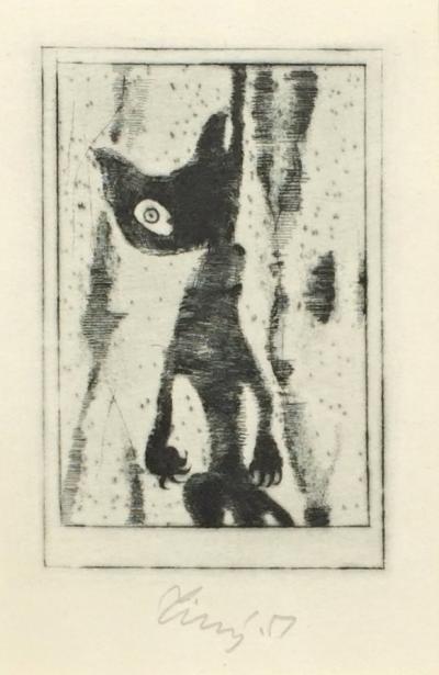 Tichý František (1896 - 1961) : Ilustr. k povídce E. A. Poea, Černá kočka