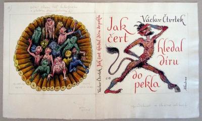 Bouda Cyril (1901 - 1984) : Návrh na obálku knihy - Jak čert hledal díru do pekla