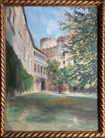 Hauska Otakar (1874 - 1926) : Nádvoří zámku v Jindřichově Hradci