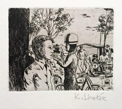 Lhoták Kamil (1912 - 1990) : Motocyklista