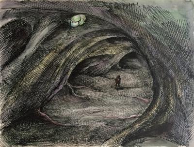 """Topor Roland (1938 - 1997) : Návrhy k animovanému sci-fi """"Divoká planeta"""""""