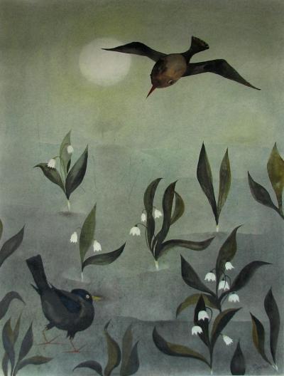 Janeček Ota (1919 - 1996) : Konvalinky s ptáčky