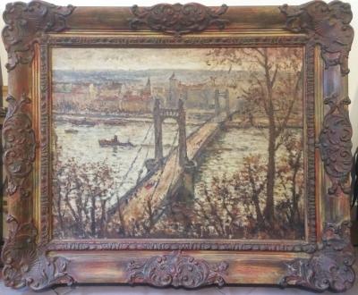 Pryl Emanuel (1896 - 1980) : Pohled z Letné na řetězový most