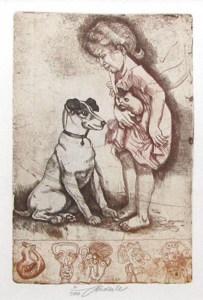 Anderle Jiří (1936) : Dívka s kočkou, pes