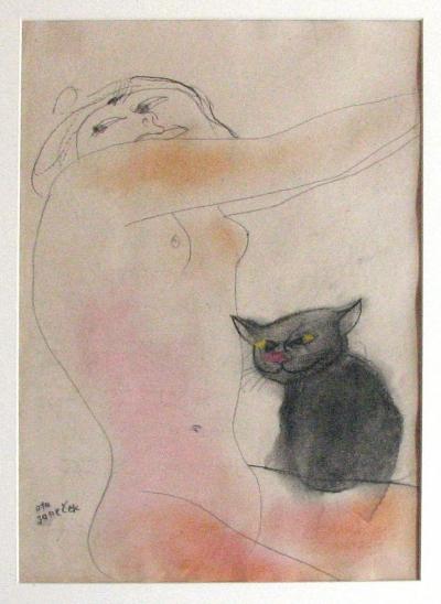 Janeček Ota (1919 - 1996) : Kverka s kočkou