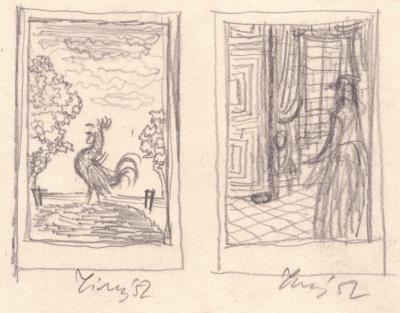Tichý František (1896 - 1961) : 2x studie k ilustracím Saltykov, Ščedrin, Golovlevské panstvo