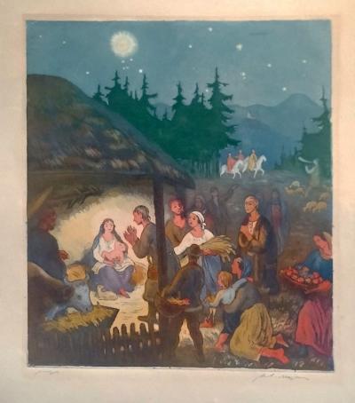 Majer Antonín (1882 - 1963) : Panna Marie s Ježíškem v jesličkách 2 lepty